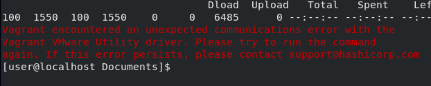 Vagrant encountered and unexpected communications error - fix